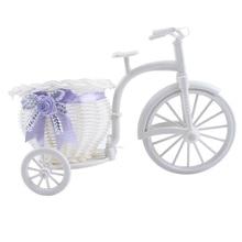 Design élégant travail manuel blanc Mini Tricycle vélo fleur panier de stockage pour la maison fête mariage Banquet Table bricolage décoration artisanat