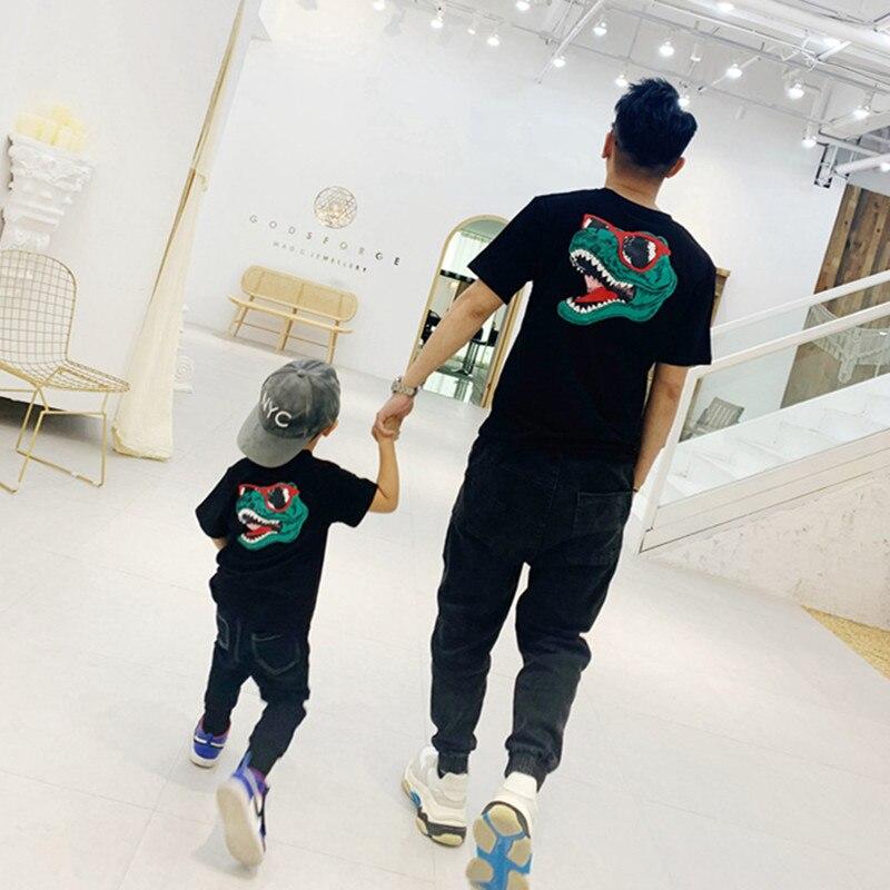 Camiseta de dinosaurio de apariencia familiar, mono de verano para Familia, ropa a juego para mamá, papá, hijo e hija, trajes de dibujos animados para madre e hija