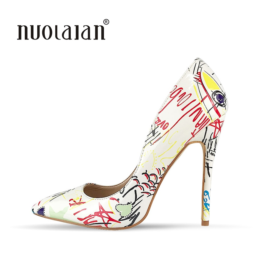 2018 Brand Fashion Graffiti Colorful Women Pumps Sexy Stiletto high heels Wedding Party Women Shoes sapato feminino