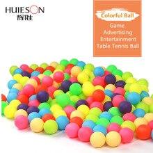 Huieson 100 Pcs/Pack coloré balles de Ping-Pong 40mm 2.4g divertissement balles de Tennis de Table couleurs mélangées pour le jeu et la publicité