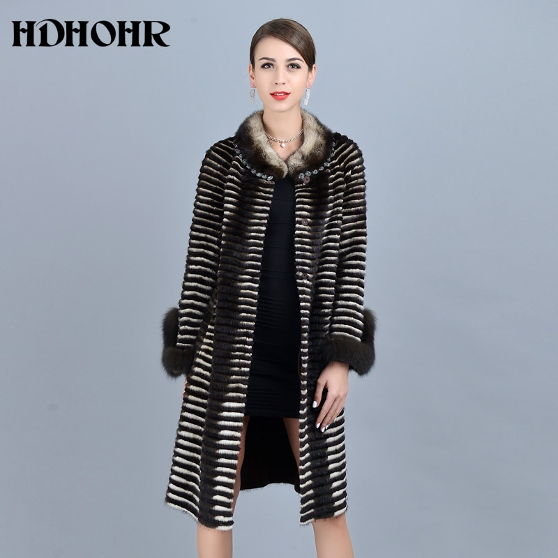 HDHOHR 2020 عالية الجودة المرأة محبوك معاطف فرو منك الثعلب الفراء كم موضة سميكة الطبيعية المنك الستر شتاء دافئ الفراء الباركرز