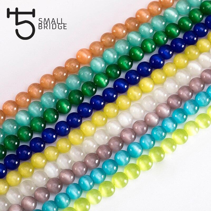 4, 6, 8, 10 мм гладкие круглые натуральные опаловые бусины для изготовления браслетов Женские аксессуары для самостоятельного изготовления стеклянных шариков кошачий глаз оптовая продажа P401
