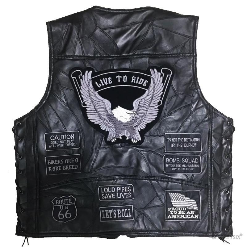 Men Biker Leather Motorbike Vest Black Motorcycle Hip Hop Waistcoat Vintage Male  Punk Solid Spring Sleeveless Jacket