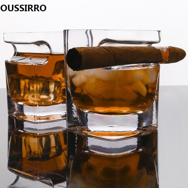 Juego de 2 Uds de copas de cristal Ultra transparentes para whisky, vino, licor de Brandy, cerveza, agua gruesa, copa de vino cuadrada para el hogar, Bar o fiesta