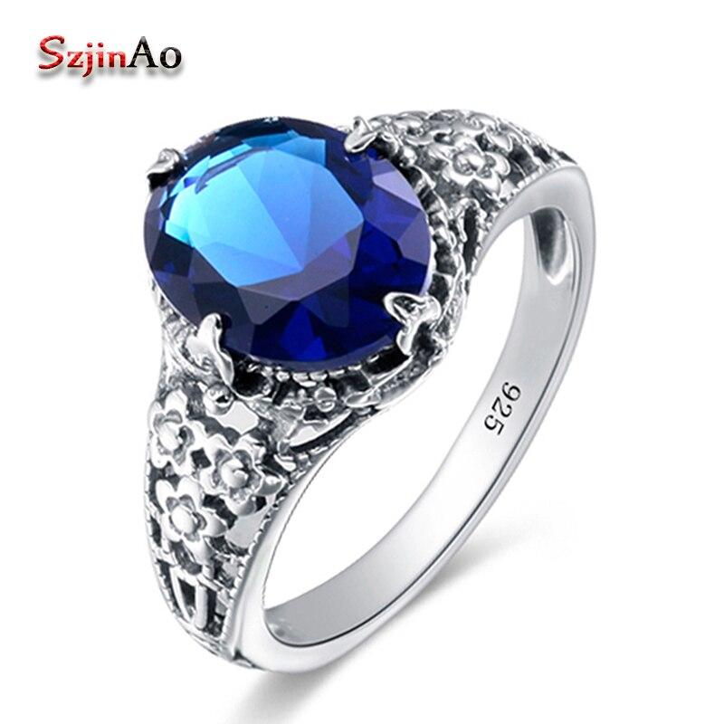 Szjinao rosyjski 925 Sterling Silver biżuteria Sapphire małżeństwo pierścienie dla kobiet moda śliczne lżejsze obrączka bijoux