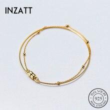 INZATT Double métal or Bracelet mode aimant Six perles minimaliste OL Style Pulseras Mujer Moda 2018 argent 925 bijoux cadeau