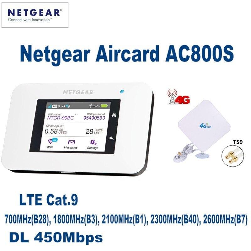 Netgear Aircard AC800S Cat9 450Mbps portátil 4G LTE WiFi Hotspot plus con 35dBi 4G externo interior LTE WIFI antena