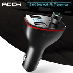 ROCK B300 Bluetooth FM передатчик 4,2 USB Автомобильное зарядное устройство цифровой алюминиевый сплав Быстрая зарядка мониторинг для iPhone Samsung