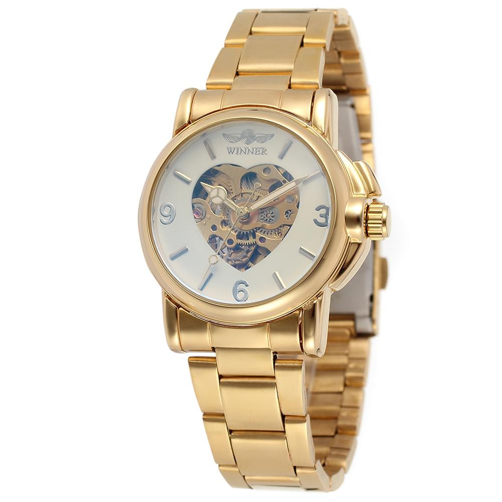 Reloj Winner DISEÑO DEPORTIVO con bisel dorado para mujer, relojes de marca superior, reloj de lujo para mujer, reloj de pareja automático, reloj de mujer encantador
