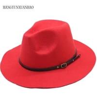 black red vintage gangster wool felt jazz fedora hats belt buckle decor women unisex wide brim panama trilby cowboy cap sunhat