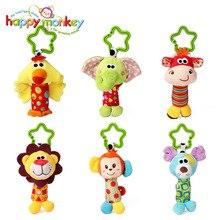 Heureux singe Animal en peluche peluche doux bébé hochet bâton jouets suspendus cloches pour enfants nouveau-né cadeau saisir jeu éléphant