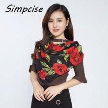 [Simpcise] Лидер продаж, знаменитый дизайн, женский большой розовый Печатный квадратный шарф из полиэстера Шелковый женский шарф P9A99022