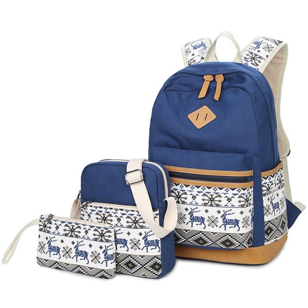 Impression sur toile sac à dos pour ordinateur portable femmes sacs décole pour les adolescentes serres-livres 3 pièces/ensemble