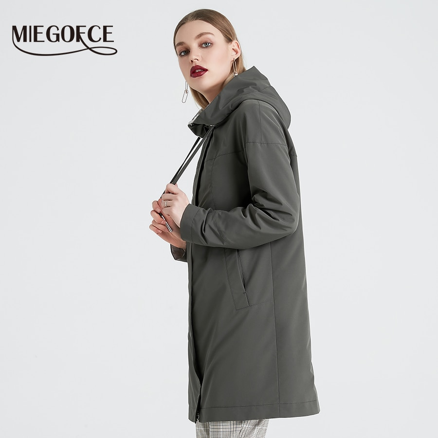 MIEGOFCE 2019 larga de primavera de las mujeres abrigo de cuello con capucha mujer Slim sintético de las mujeres de invierno abrigo de nuevo diseño