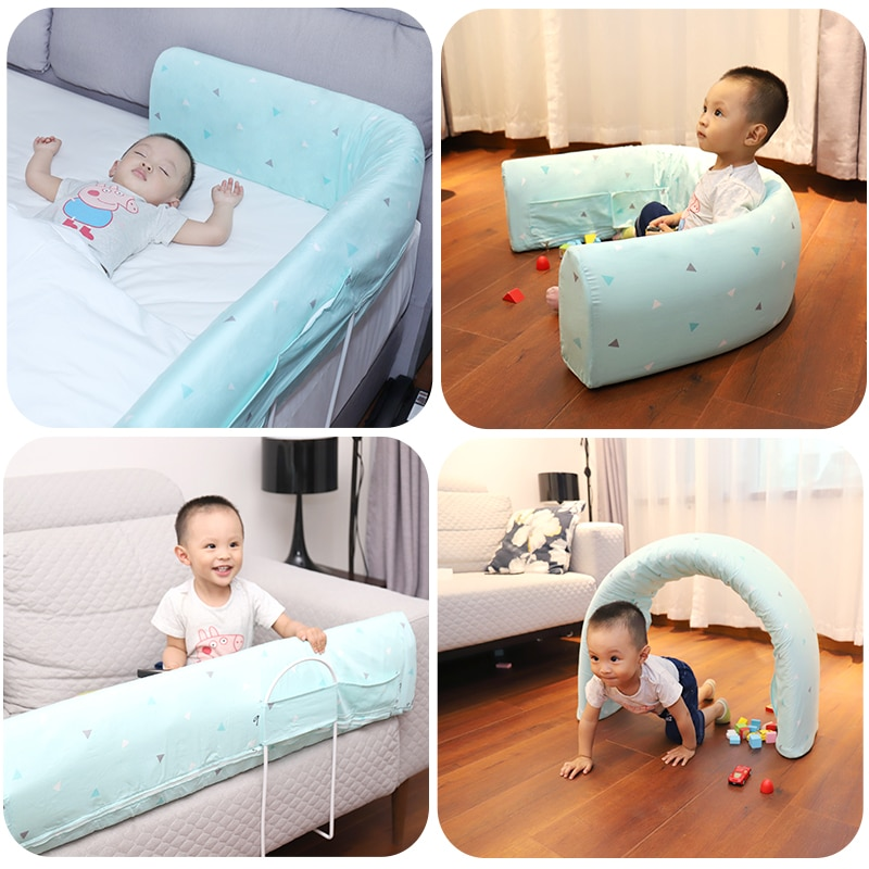 4 size blue pink color120 150 180 200cm baby bed fence guardrail baby crib guardrail bed rails bed buffer type meters general Baby Bed Fence Children Protective Multi-function guardrail  Kid Rails Safety Sleeping Shatter-resistant 1.5-1.8-2 Meters Bed