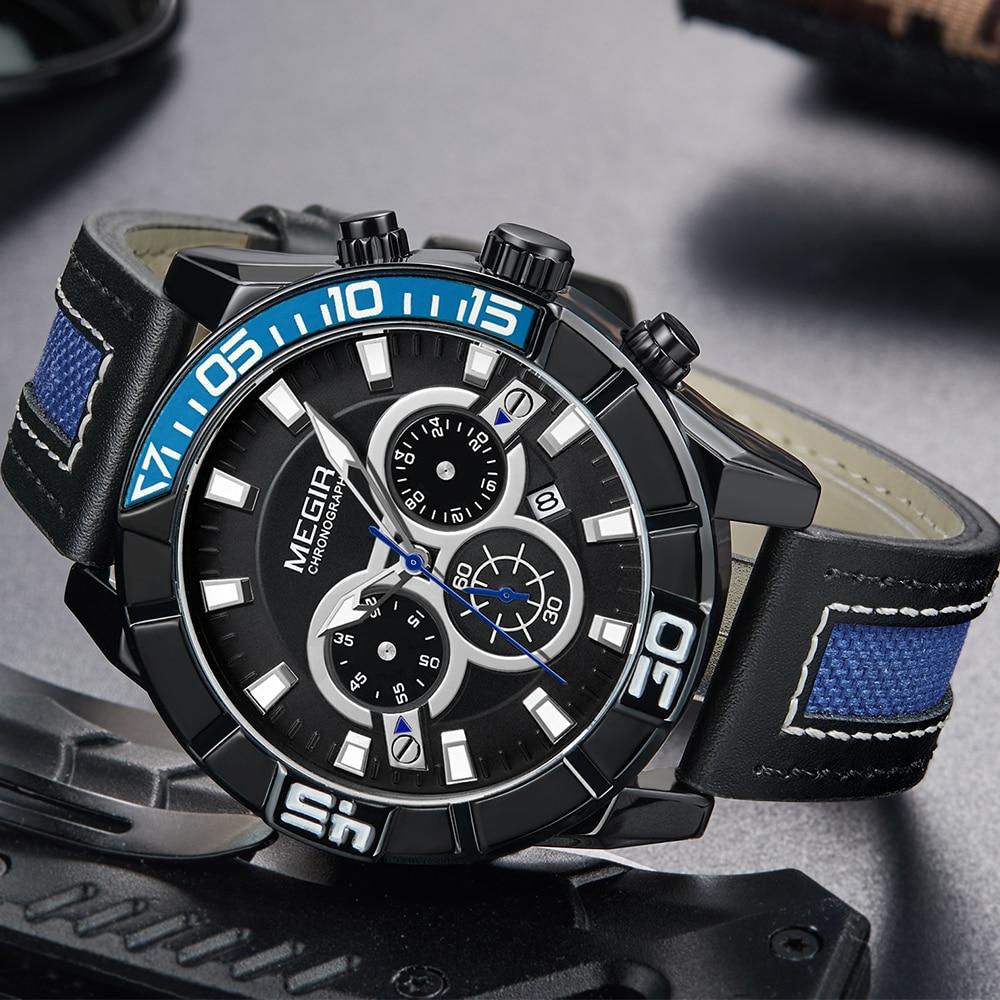 Megir New Blue Quartz Watch Men Watches Top Brand Luxury Leather Chronograph Sport Wrist Watch For Men Hodinky Relogio Masculino