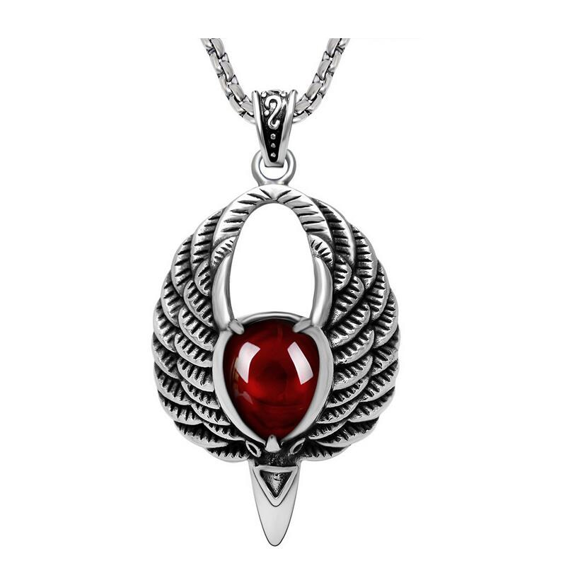 Gothic style inlaid garnet Opal sweater chain necklace pendant big bird garnet pendant Fashion natural stone pendants SALE opal