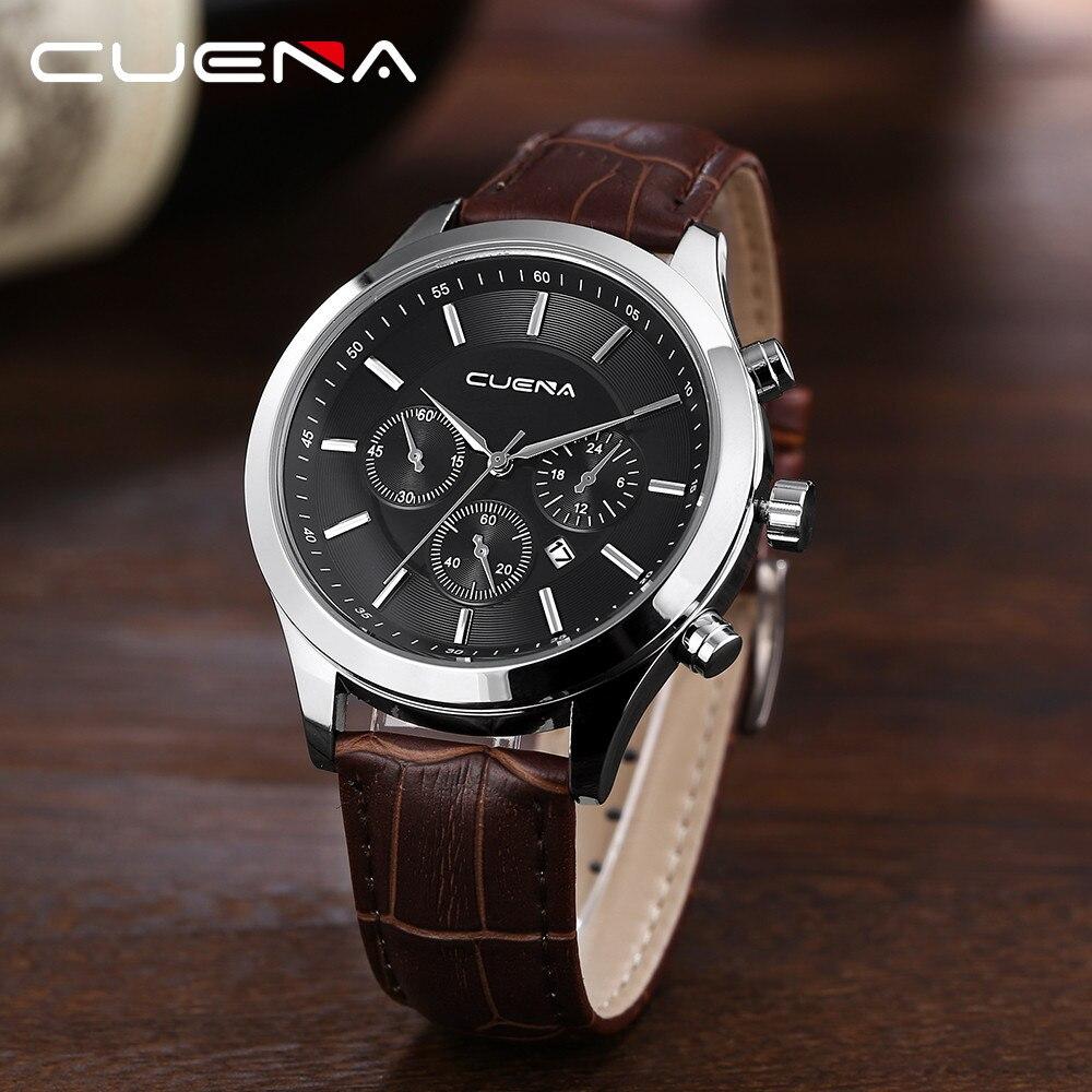 CUENA Mode Lässig männer Uhr Leder Military Legierung Analog Quarz Handgelenk Herren Uhr Business Datum Uhren horloges mannen