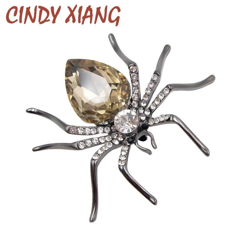 Женская брошка CINDY XIANG, 3 цвета, на выбор, с кристаллом-пауком