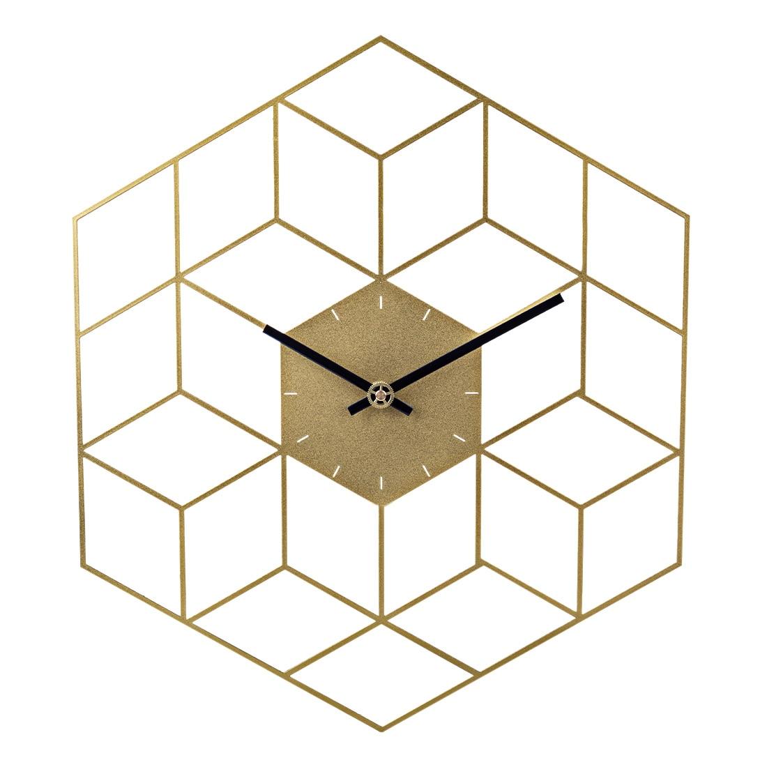 35X40 سنتيمتر الإبداعية الحديد مكعب ساعة حائط ساعة الموقت بطارية تعمل ساعة حائط صامت s ديكور المنزل الديكور-مقياس الذهبي