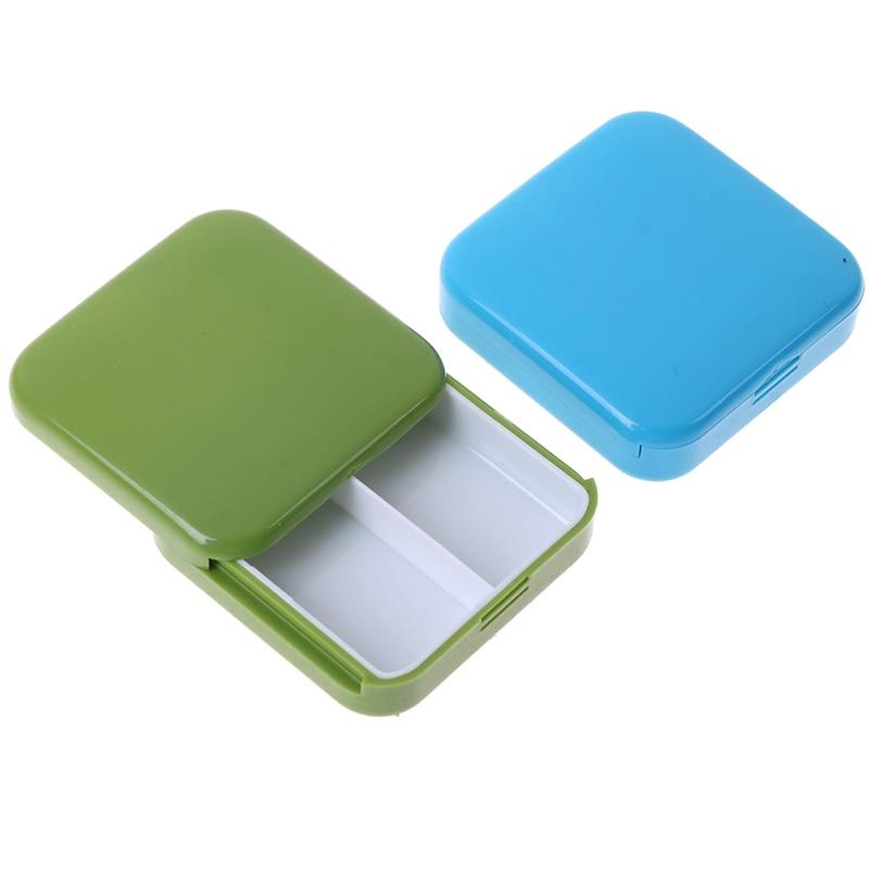 1PC Mini Portable 2 Grid Push Open Style Pill Box Medicine Pillbox Tablet Storage Case Container Cases Storage Box New