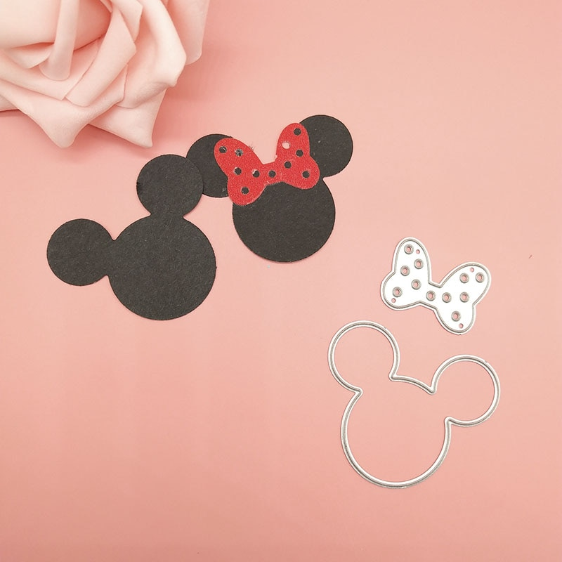 Mickey y Minne Arco de la oreja de corte Dies plantillas para DIY Scrapbooking/álbum de fotos decorativo en relieve DIY tarjetas de papel