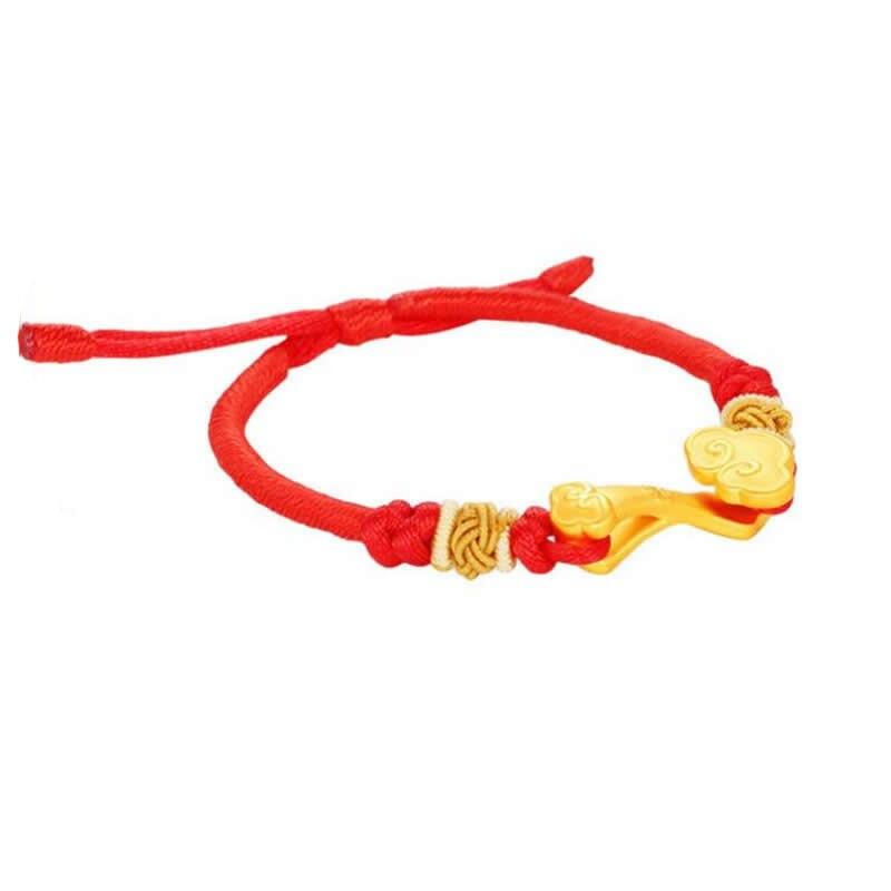 Nuevo brazalete de oro amarillo de 24K con tejido Ruyi para dar suerte