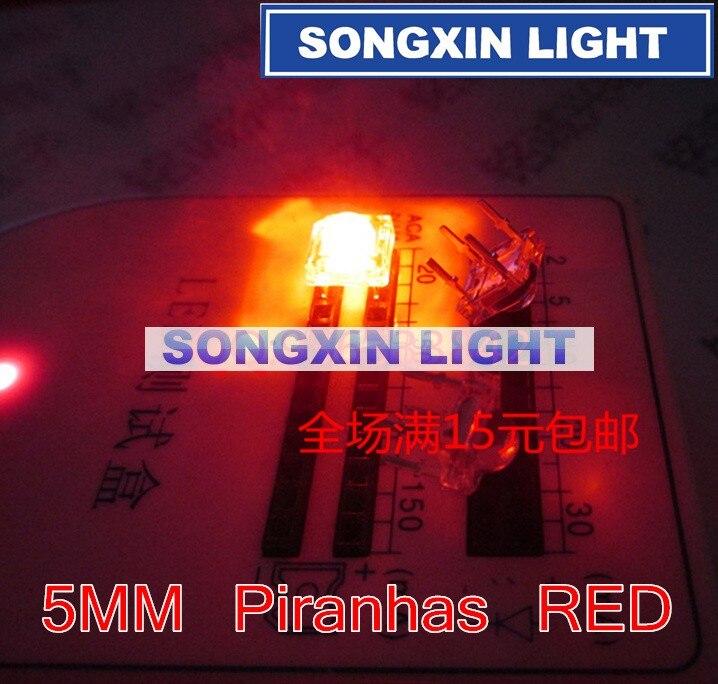 500 Uds. LED 5mm Domo rojo Super Flux agua clara piraña LED lámparas de coche redondas nueva alta calidad al por mayor de alta moda agujero Smd