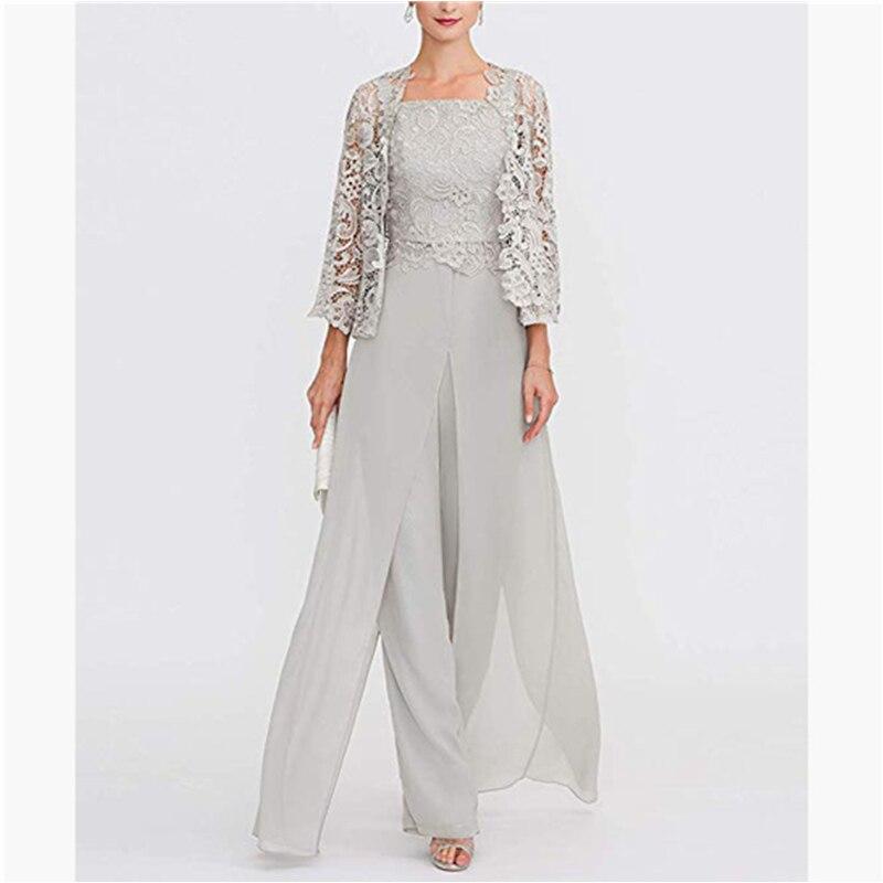 Элегантные серые кружевные брюки для мамы и невесты, костюм большого размера, шифоновое Формальное вечернее платье для мамы, длинное платье
