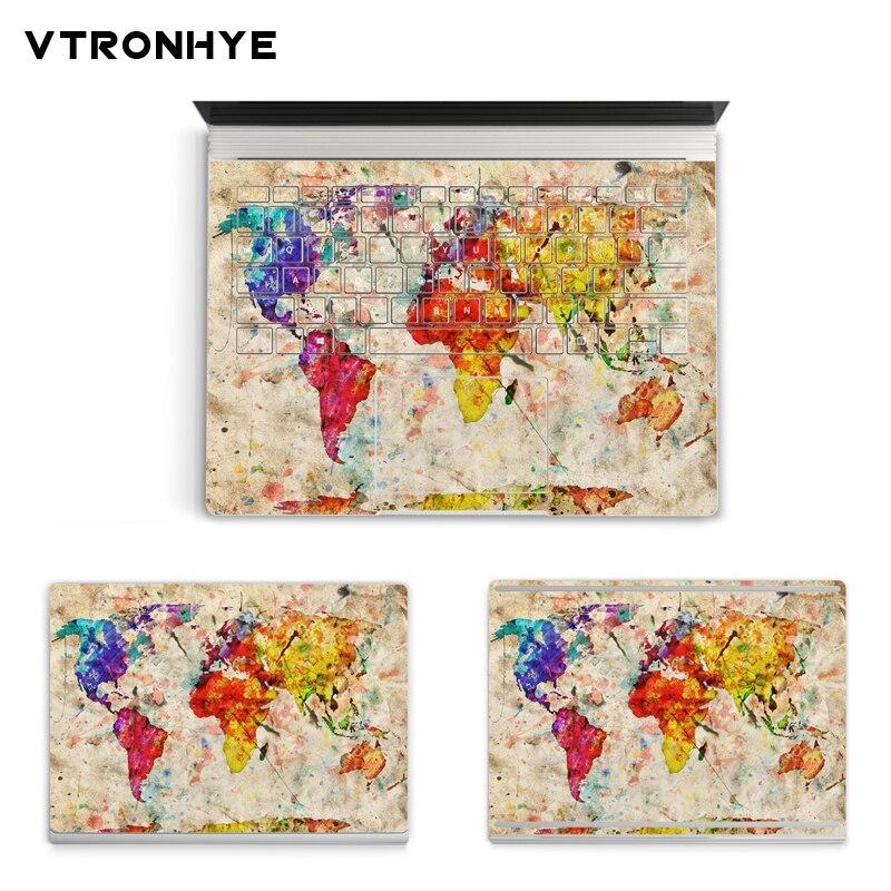Красочные геометрические карты серии Виниловая наклейка для ноутбука наклейка для microsoft поверхность книга 13,5 дюймов Анти-пыль покрытие кож...