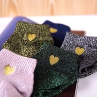 wholesale 60 pairs embroidery heart love glitter socks women silver gold silk colorful shining sox shiny calcetines mujer