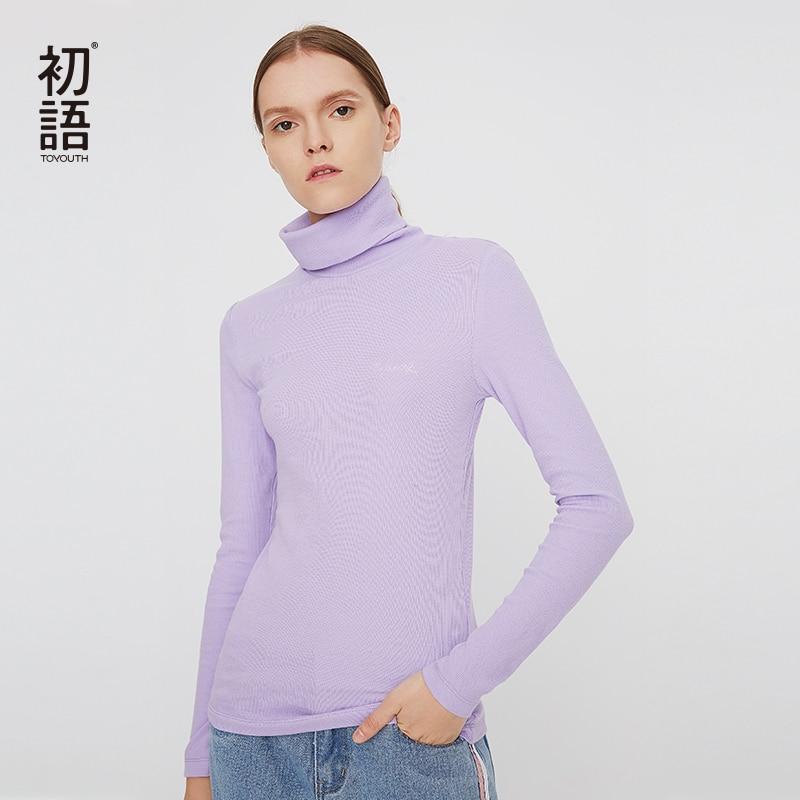Camiseta básica de cuello alto Toyouth, camiseta de manga larga para mujer, Harajuku Casual, camisetas sólidas para mujer, camisetas tejidas de otoño