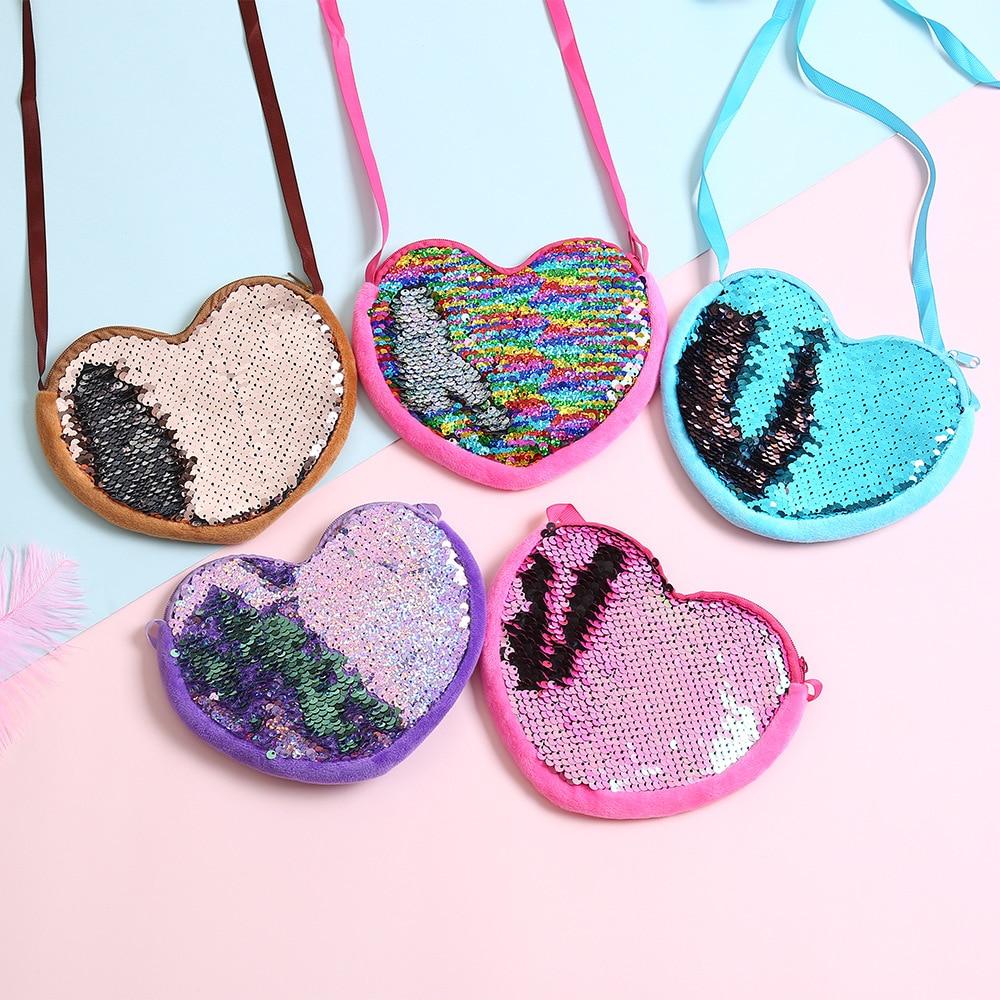 Monedero de lentejuelas para niños/niñas, Mini bolso para mujer, portatarjetas para mujer, bonito monedero ostentoso con forma de corazón, billetera para bebés, bolso cruzado, bolsa