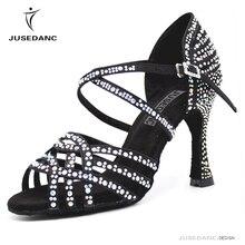 Chaussures danse latine filles salle de bal chaussures latines Tango femmes chaussures noires chaussures de danse haute strass JuseDanc