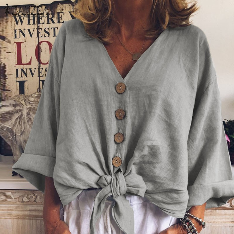 2020 blusa para mujer de talla grande zanzea Otoño de manga larga suelta túnica Tops Casual sólido V cuello camisas de fiesta de algodón Famele Chemise