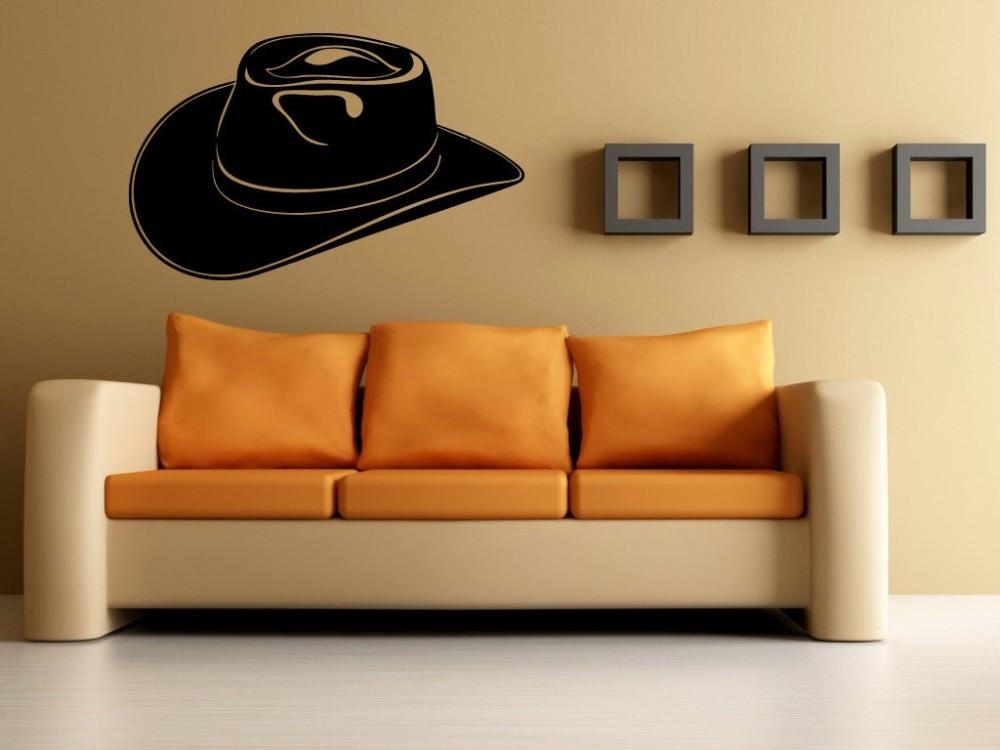 Chapéu de Cowboy Texas Lone Star State Wall Decor Mural Vinyl Decalque Art Sticker