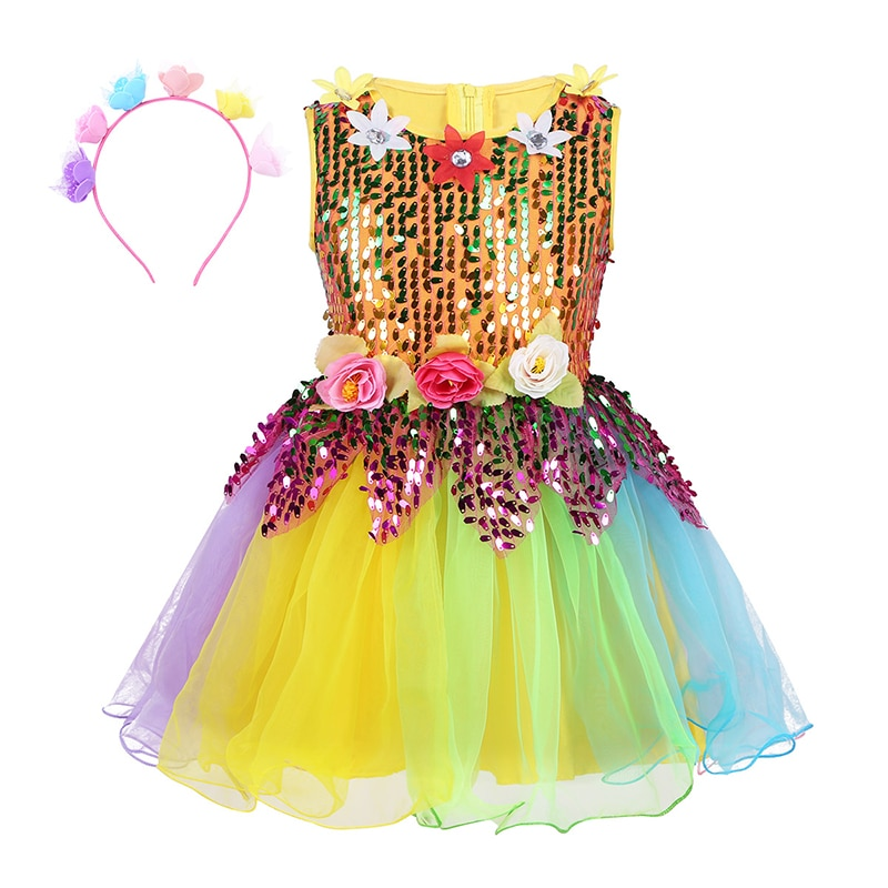 Kids Girl Sleeveless Sequins Ballerina Tulle Ballet Dress Flower Rainbow Jazz Latin Dance Clothes Stage Performance