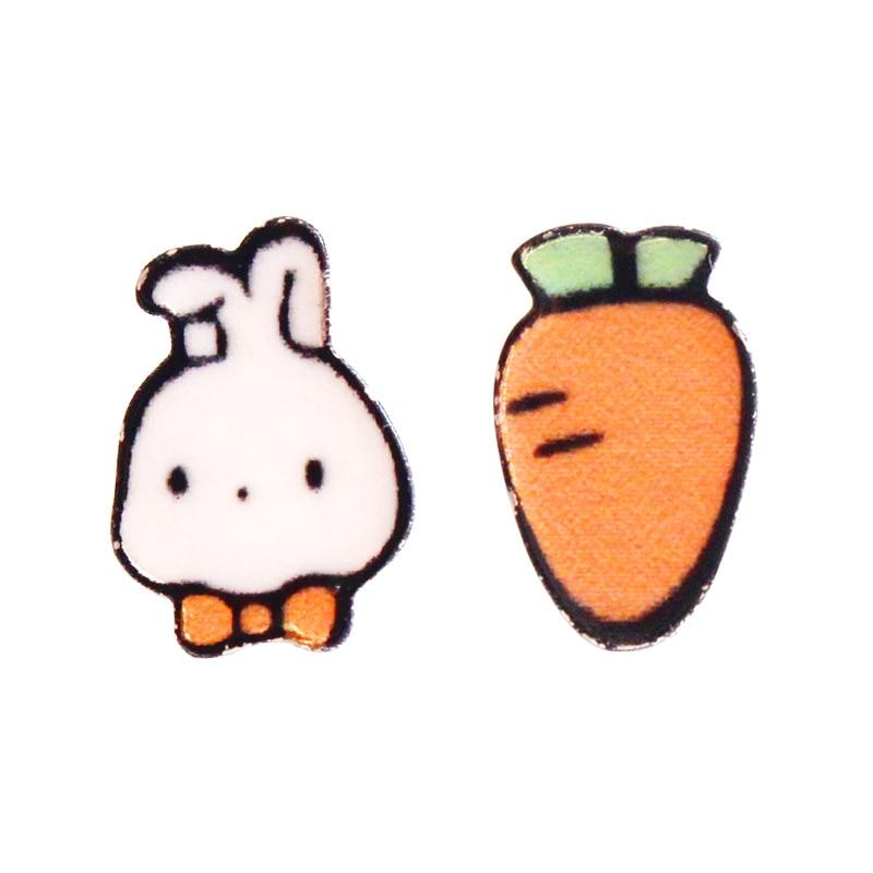 Jinleansu cenoura coelho parafuso prisioneiro brincos bonito adorável animal assimétrico orelha jóias de unhas para mulher
