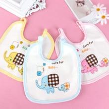 Cartoon Elephant Print Baby Bibs Girls Boys Gift Cotton Towel Feeding Stuff Burp Cloth for Baby Care Baby Accessories