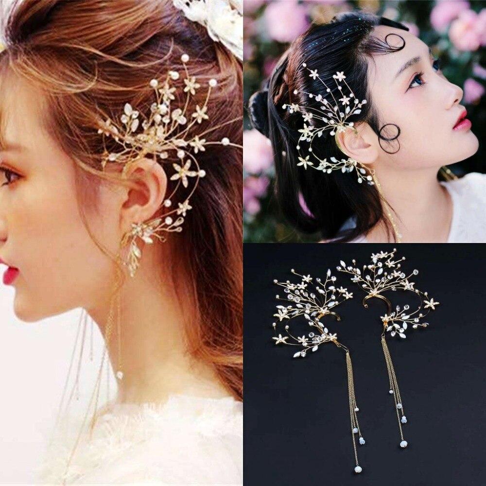 1Pair Handmade Bride Ear Hanging Earrings Brides Headdress Tassel Flower Hair Decoration Wedding Hair Accessories Tiara De Noiva