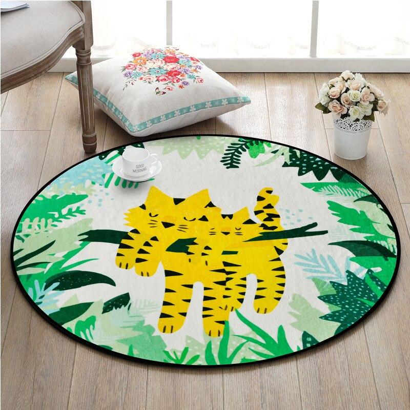 Мультяшные животные, круглый ковер для комнаты, нескользящий Придверный коврик, милый тигр, фламинго, попугай, медведь, принт, коврик для спа...