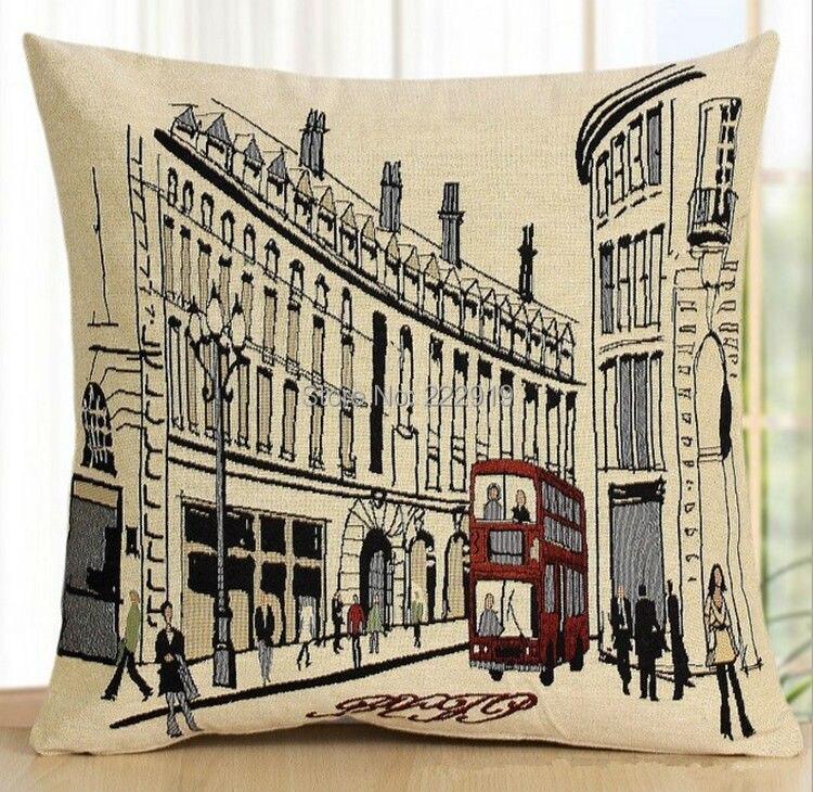 Casa decorativa Londres bus street UK street impresión Lino almohada cubre Fundas de cojín de sofá