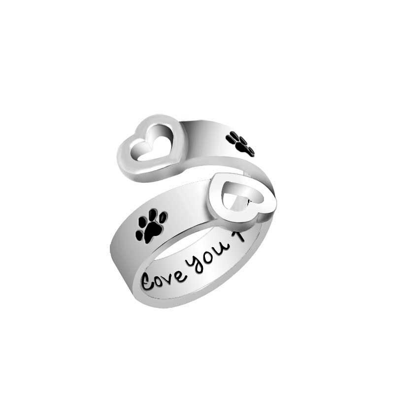 "Anillos con letras ""I love you forever"" para mujer, anillos estampados con pata de Mascota, diseño de corazón, huella de patas de perro, anillos ajustables"