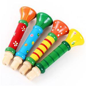 1Pc breve bebé chico niños de juguete de madera instrumento Musical de trompeta Hooter Bugle Suona juguete