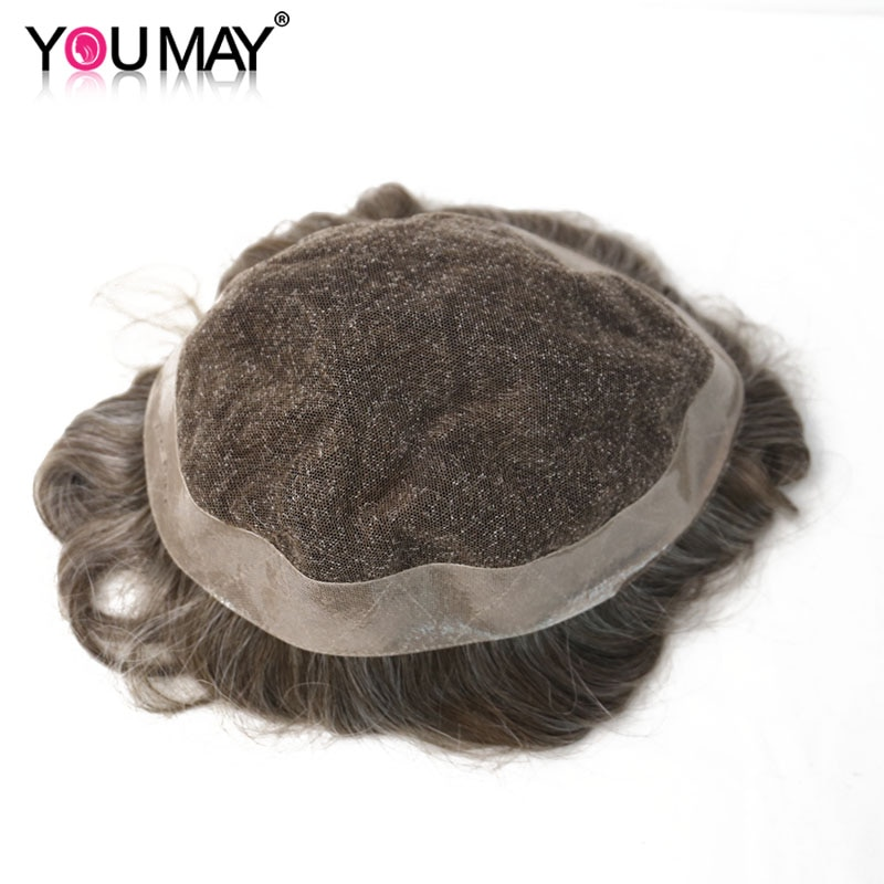 Men's Wig Durable Replacement System Lace & PU Human Remy Hair Wig For Men Natural Looking  8X10 Toupee Lace Color #440 You May