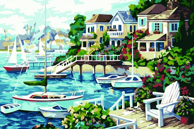 Photos modulaires peinture à lhuile sur toile   Bricolage, dessin de plage en soleil, peinture à lhuile par coloration manuelle, ndscape art, cadeau unique, décoration de maison