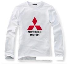 The new  cotton long-sleeved Mitsubishi motors T-shirt car logo white autumn spring full sleeve T shirt
