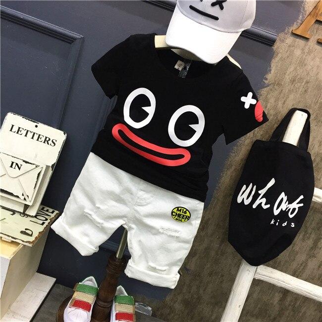 Summer Children Clothing Boys Set 2 3 4 5 6 7Years Short Sleeve Ribbon Shirt Ripped Jeans Shorts  Kids Boy Set