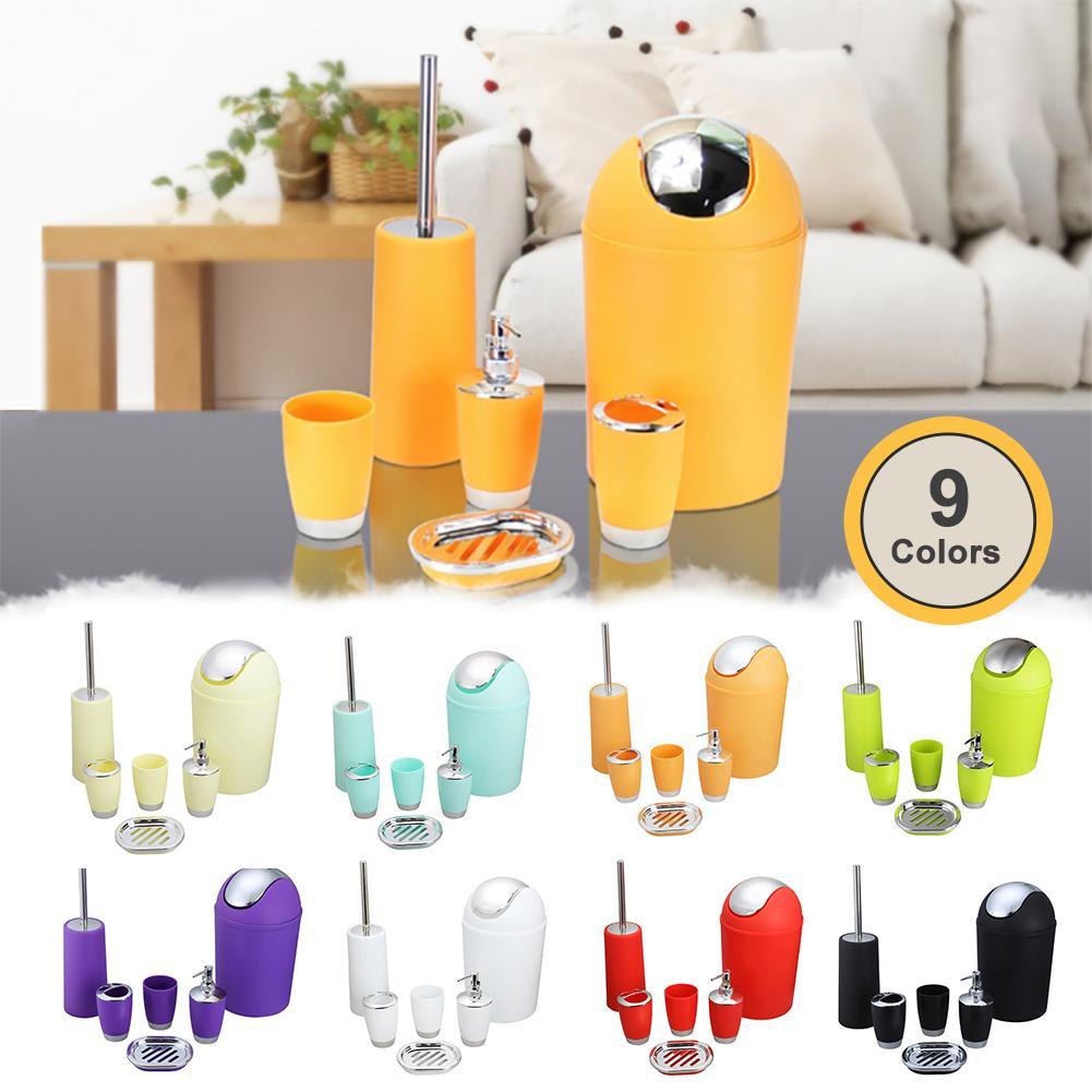 6pcs Bathroom Toiletries Organizer Set Creative Storage Lotion Bottle Toothbrush Storage Box Mug Cup Trash Can Organizer Set