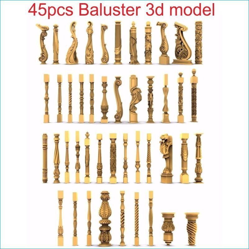 45 шт./компл. baluster 3d модель STL рельеф для cnc STL формат лестница колонна 3d модель для cnc stl рельеф artcam vectric aspire